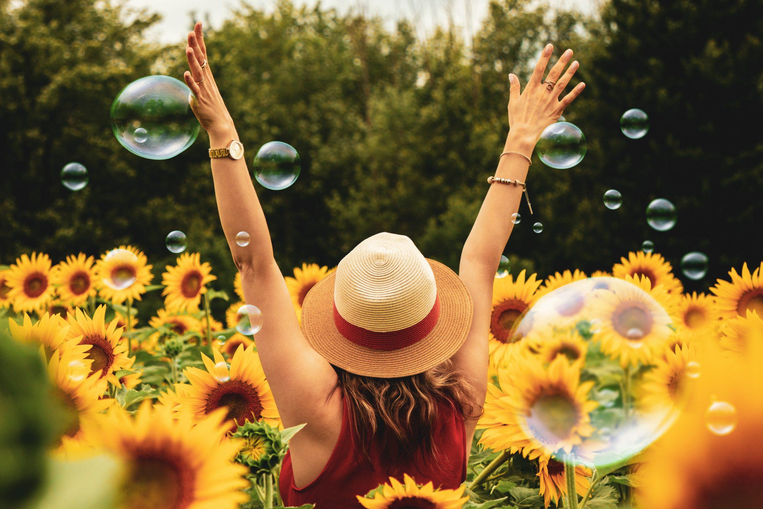 woman in a sunflower field